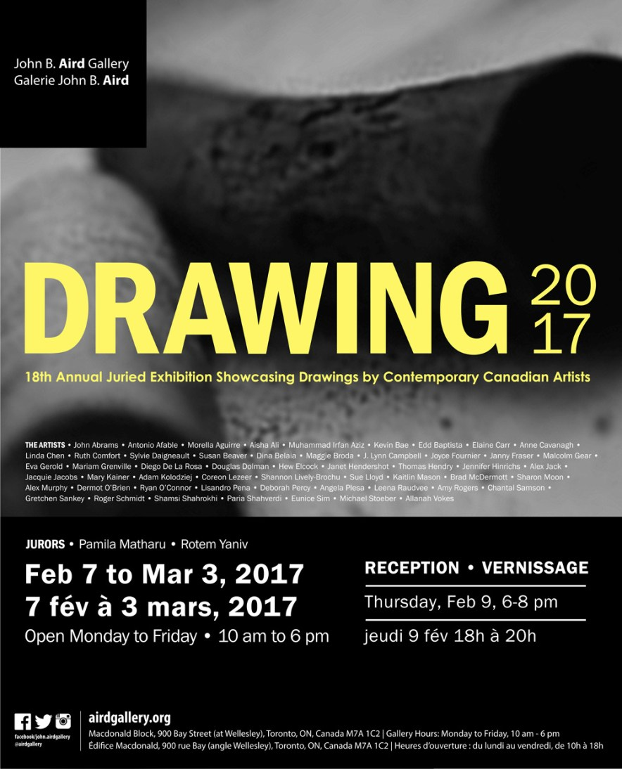 DRAWING 2017: 18th Annual Juried Exhibition Showcasing Drawings by Contemporary Canadian Artists