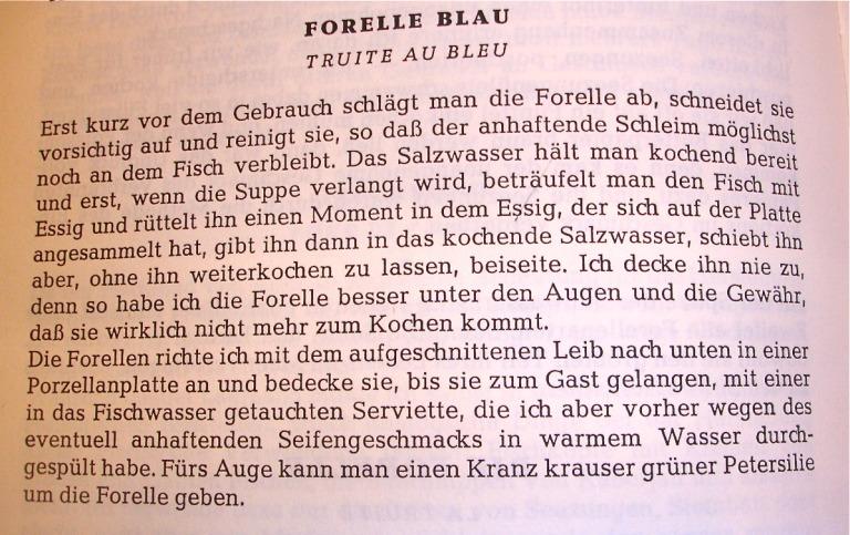 Forelle blau nach Alfred Walterspiel