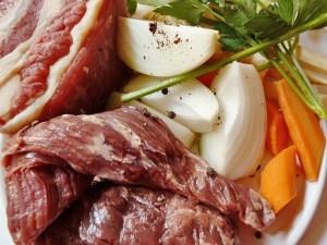 Querrippe, Gemüse und Kronfleisch