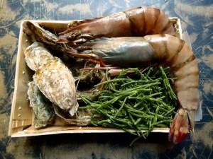 Austern, Riesengarnelen und Salicornes