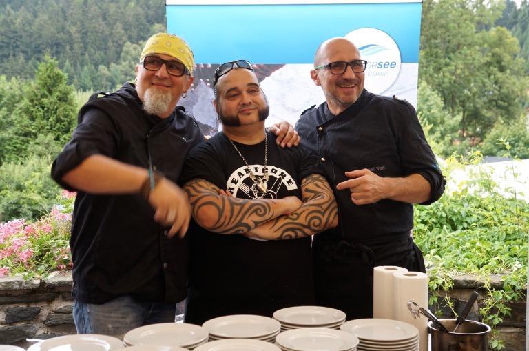Stefan Marquard, Michael Wurm und Andreas Schiessel Stefan Marquard Landgasthof Apfelblüte Lachs mit Dreierlei Gurken