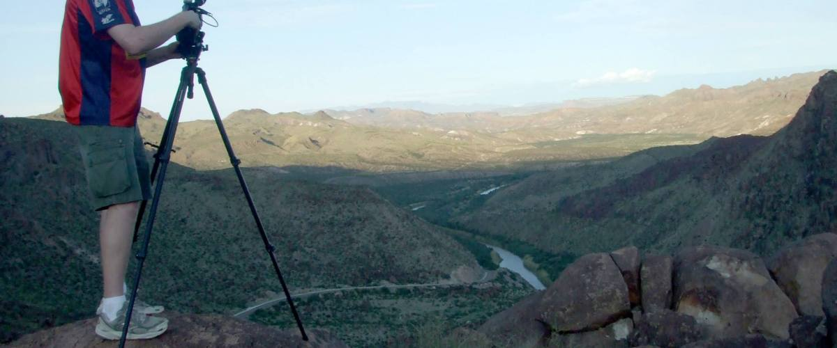 Derrick Perrin with video camera in Big Bend