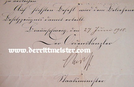 BRAUNSCHWEIG - DOCUMENT AND DECORATION - WAR SERVICE CROSS 2nd CLASS - Imperial German Military Antiques Sale