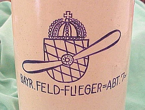 BAVARIAN BEER STEIN FOR FELDFLIEGER ABTEILUNG Nr 7 - Imperial German Military Antiques Sale
