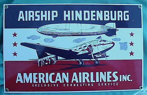 U.S. - PLAQUE - METAL - AIRSHIP HINDENBURG/AMERICAN AIRLINES - Imperial German Military Antiques Sale