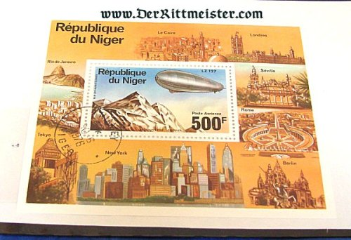 SPECIAL DISPLAY CARD - GRAF ZEPPELIN (LZ-127) POSTAGE STAMP - NIGER - Imperial German Military Antiques Sale