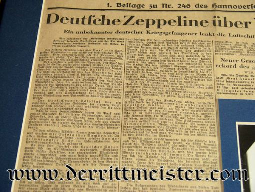 U.S. / GERMANY - NEWSPAPER - PHOTO - BADGE - FRAMED  - ZEPPELIN COLLAGE - Imperial German Military Antiques Sale