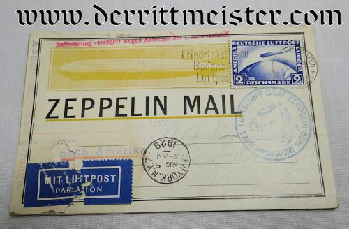 GERMANY / U.S. - ENVELOPE - STAMPED - FLOWN ON FIRST ZEPPELIN FLIGHT FROM GERMANY TO USA - Imperial German Military Antiques Sale