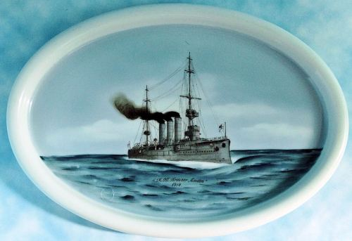 OVAL-SHAPED PLATE COMMEMORATING S. M. S. EMDEN - Imperial German Military Antiques Sale
