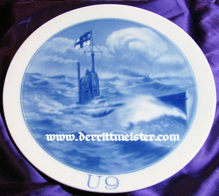 MEISSEN PLATE - OTTO WEDDIGEN - U-9 - Imperial German Military Antiques Sale