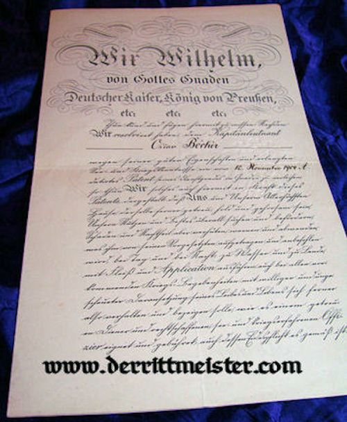 NAVAL OFFICER'S PROMOTION PATENT WITH KAISER WILHELM II'S SIGNATURE - Imperial German Military Antiques Sale
