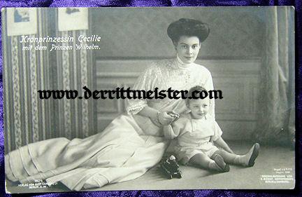 POSTCARD - KRONPRINZESSIN CECILIE & OLDEST SON PRINZ WILHELM - Imperial German Military Antiques Sale