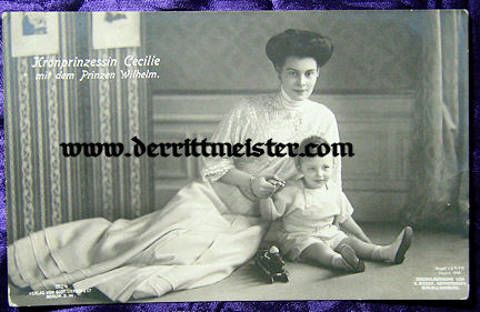 POSTCARD - KRONPRINZESSIN CECILIE & OLDEST SON PRINZ WILHELM - Imperial German Military Antiques Sale