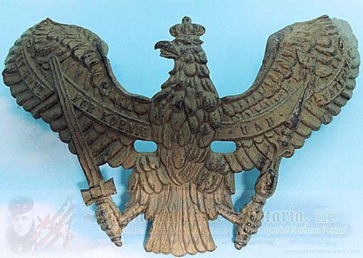 WAPPEN - PRUSSIA -  FOR PICKELHAUBE - ENLISTED MAN/NCO - DRAGONER-REGIMENT - FELDGRAU - Imperial German Military Antiques Sale