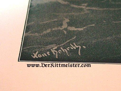 BLACK & WHITE LITHOGRAPH - BATTLE OF CORONEL by PROFESSOR HANS BOHRDT - Imperial German Military Antiques Sale