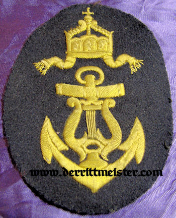NAVY SLEEVE RATING PATCH - MUSICIAN - Imperial German Military Antiques Sale