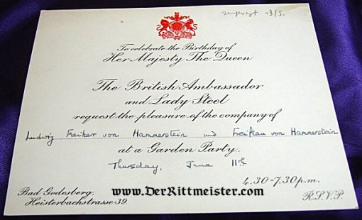 GREAT BRITAIN - AUTOGRAPHED PARTY INVITATION CELEBRATING QUEEN ELIZABETH II OF GREAT BRITAIN'S BIRTHDAY - AUTOGRAPHED BY PRINZESSIN/DUCHESS VIKTORIA LUISE (PRUSSIA AND BRAUNSCHWEIG) AND LUDWIG FREIHERR von HAMMERSTEIN-EQUORD - Imperial German Military Antiques Sale