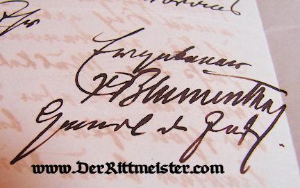 ANHALT - AUTOGRAPHED LETTER - GENERALFELDMARSCHALL LEONHARD GRAF von BLUMENTHAL - Imperial German Military Antiques Sale