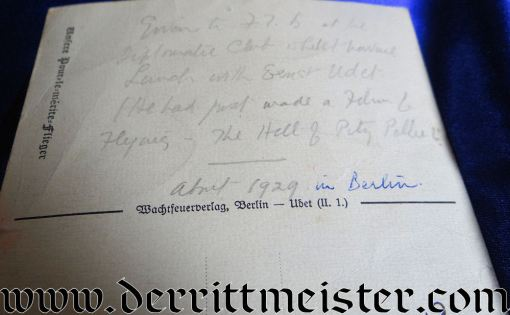 OVERSIZED AUTOGRAPHED WW I ACE AND WW II LUFTWAFFE GENERAL ERNST UDET POSTCARD - Imperial German Military Antiques Sale
