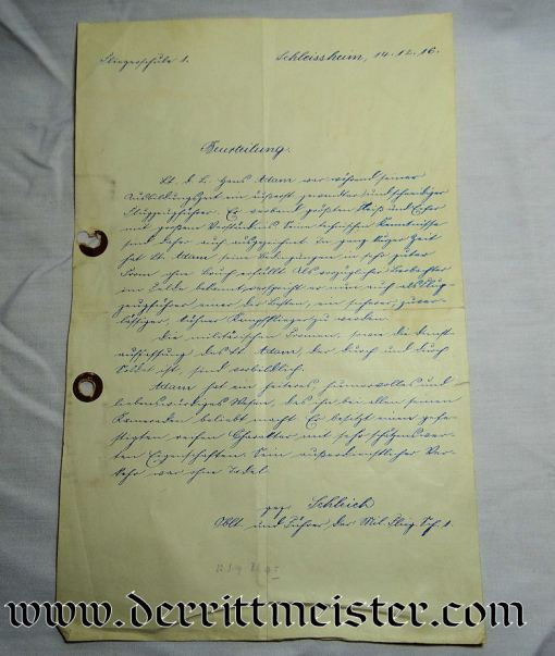 SIGNED EDUARD RITTER von SCHLEICH DOCUMENT DISCUSSING FUTURE KNIGHT'S CROSS OF THE MILITARY MAX JOSEPH ORDER (BAVARIA) WINNER HANS RITTER von ADAM'S FLYING SKILLS - Imperial German Military Antiques Sale