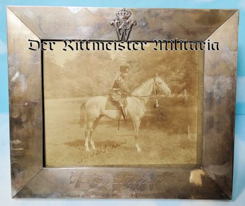 KRONPRINZ WILHELM'S DELUXE SILVER PRESENTATION FRAME & AUTOGRAPHED PHOTOGRAPH - Imperial German Military Antiques Sale