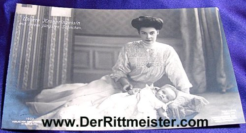 POSTCARD - KRONPRINZESSIN CECILIE - YOUNGEST SON PRINZ FRIEDRICH - Imperial German Military Antiques Sale