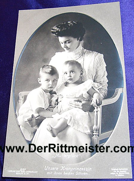 POSTCARD - KRONPRINZESSIN CECILIE - TWO SONS - Imperial German Military Antiques Sale