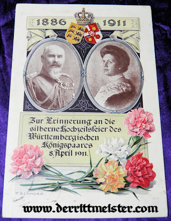 COLOR POSTCARD - 25th ANNIVERSARY - KÖNIG WILHELM II - KÖNIGIN CHARLOTTE - WÜRTTEMBERG - Imperial German Military Antiques Sale