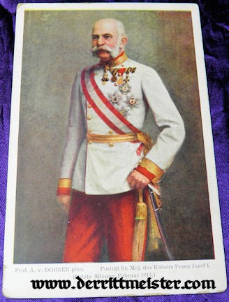 COLOR POSTCARD - KAISER FRANZ JOSEF - AUSTRIA - Imperial German Military Antiques Sale