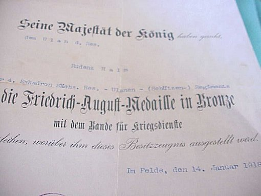 SAXONY - PAIR OF DOCUMENTS TO A SOLDIER WHO SERVED IN SAXON KARBINER & ULANEN REGIMENTS - Imperial German Military Antiques Sale