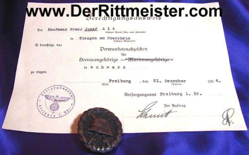 GERMANY - AWARD DOCUMENT - BLACK ARMY WOUND BADGE - Imperial German Military Antiques Sale