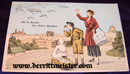 COLOR POSTCARD - FRENCH MOTHER - CHILDREN - GERMAN AIRPLANES - ZEPPELINS - Imperial German Military Antiques Sale