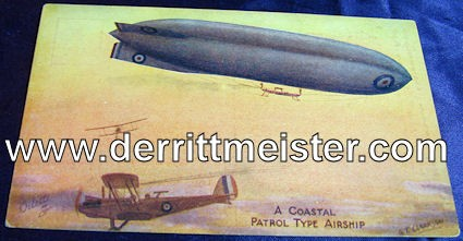 COLOR POSTCARD - ENGLISH AIRSHIP - Imperial German Military Antiques Sale