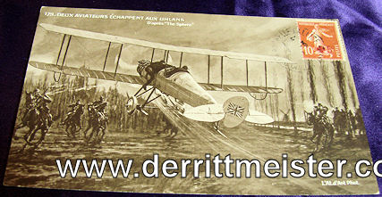 FRENCH POSTCARD - ENGLISH AIRPLANE - GERMAN ULANENS - Imperial German Military Antiques Sale