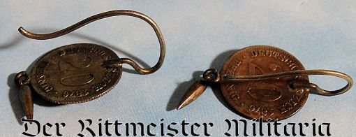 GERMANY - PATRIOTIC EARRINGS  - FASHIONED FROM COINS - Imperial German Military Antiques Sale