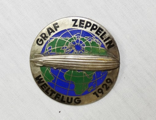 GERMANY - BADGE - COMMEMORATIVE - AIRSHIP GRAF ZEPPELIN'S FIRST (1929) WORLD TOUR - Imperial German Military Antiques Sale