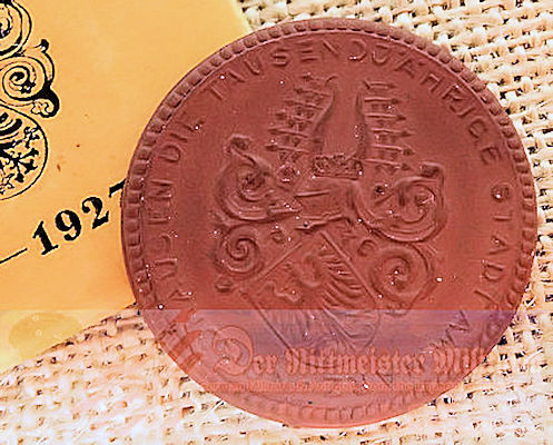 CENTRAL GERMANY - TABLE MEDAL -1,000th ANNIVERSARY OF NORDHAUSEN IN ORIGINAL PURCHASE PACKET - Imperial German Military Antiques Sale
