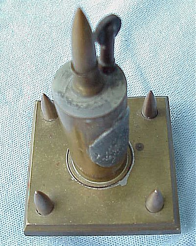 LIGHTER/DESK PIECE - BULLET TIPS AND A BRASS SHELL - Imperial German Military Antiques Sale