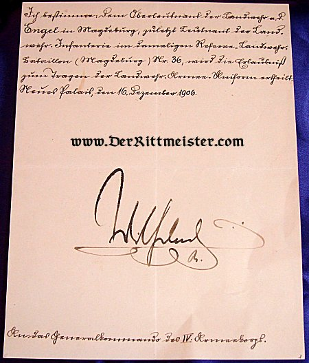 OFFICER'S RETIREMENT PAPERS - SIGNED - KAISER WILHELM II - Imperial German Military Antiques Sale
