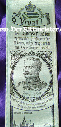 VIVAT RIBBON - GENERAL d' ELSA - Imperial German Military Antiques Sale