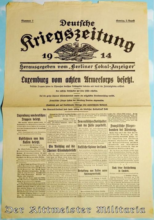 GERMANY - NEWSPAPER - 1914 - DEUTSCHE KRIEGSZEITUNG - Imperial German Military Antiques Sale