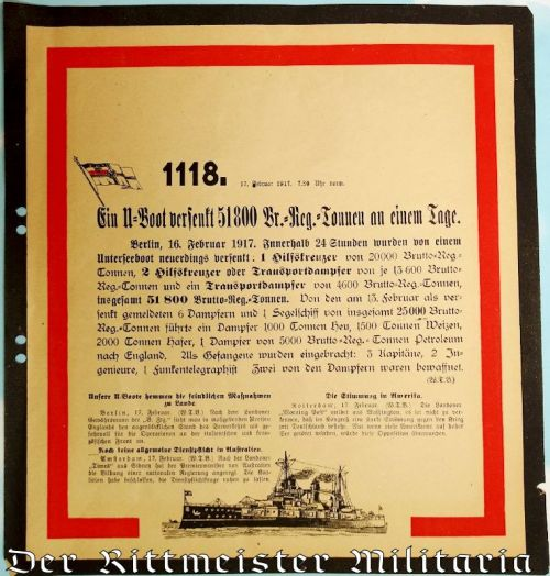 GERMANY - COMMUNICATION - OFFICIAL WAR COMMUNIQUÉ Nr 1118 ANNOUNCING 17 FEBRUARY 1917's WAR NEWS - Imperial German Military Antiques Sale