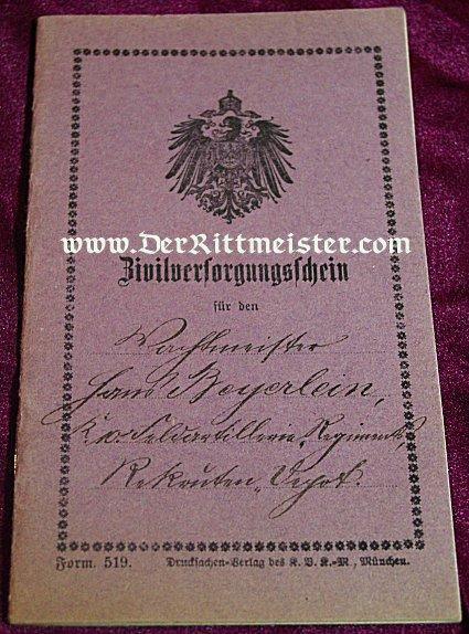 BAVARIA - CIVILIAN PASSPORT - Imperial German Military Antiques Sale