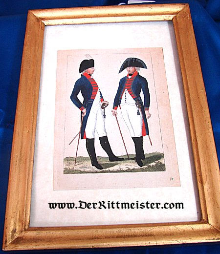 PRUSSIA - LITHOGRAPH - FRAMED COLOR - GARDE-INFANTERIE OFFICER - INTERIM UNIFORM CIRCA 1803 - Imperial German Military Antiques Sale