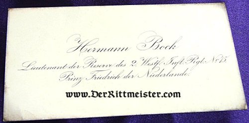 GERMANY - CALLING CARD - LIEUTENANT der RESERVE HERMANN BOCK - INFANTERIE-REGIMENT PRINZ FRIEDRICH der NIEDERLANDE (2. WESTFÄLISCHES) Nr 15. - Imperial German Military Antiques Sale