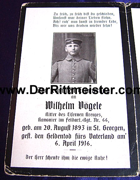 GERMANY - DEATH CARD - Wilhelm Vögle - Imperial German Military Antiques Sale