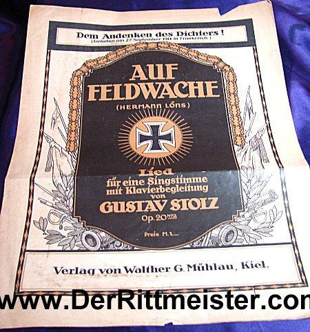 GERMANY - MUSIC SHEET- POET HERMANN LÖNS - Imperial German Military Antiques Sale