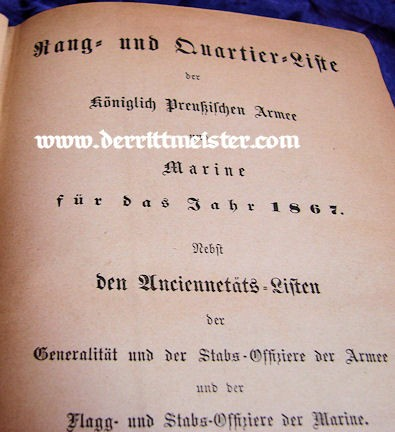 PRUSSIA - RANGLISTE - 1867 RANG und QUARTIER-LISTE - ARMY AND NAVY - Imperial German Military Antiques Sale