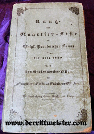 PRUSSIA - RANGLISTE - 1849 - RANG und QUARTIER-LISTE - ARMY - NAVY - Imperial German Military Antiques Sale