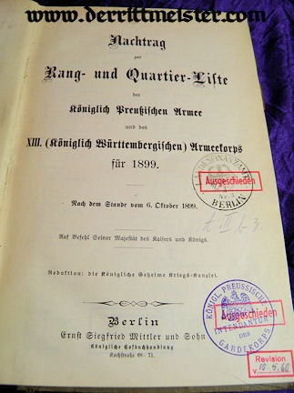 PRUSSIA / WÜRTTEMBERG - RANGLISTE - 1899 - NACHTRAG zur RANG und QUARTIER LISTE - ARMY - XIII.  ARMEEKORPS - Imperial German Military Antiques Sale